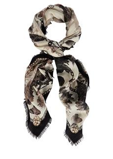 Alexander McQueen Fringed Skull Floral Wool Scarf