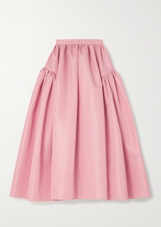 Alexander McQueen Gathered Faille Midi Skirt