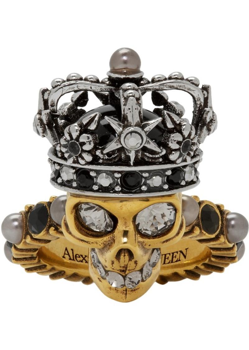 Alexander McQueen Gold & Silver King Skull Ring