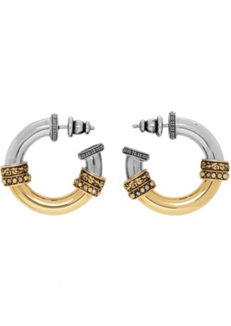 Alexander McQueen Gold & Silver Small Hoop Earrings