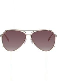 Alexander McQueen Gold Aviator Clip-On Sunglasses