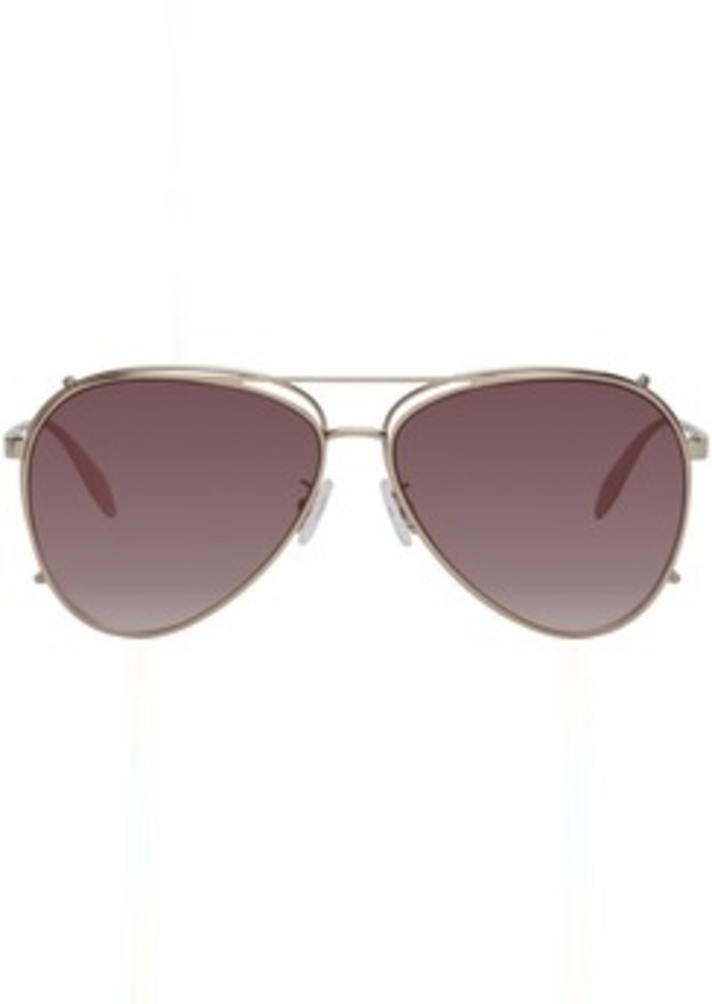 Alexander McQueen Gold Aviator Clip-On Sunglasses