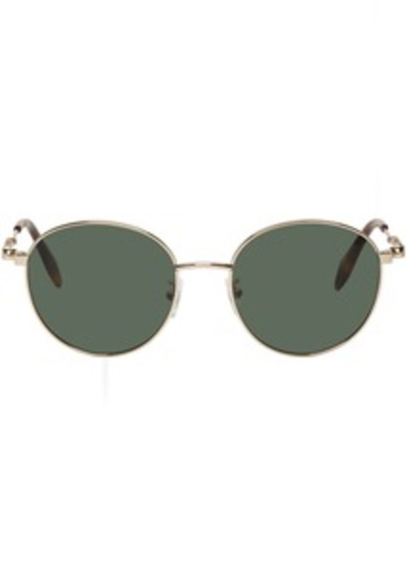 Alexander McQueen Gold Oval Metal Piercing Sunglasses