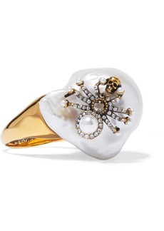 Alexander McQueen Gold-tone, Crystal And Pearl Ring