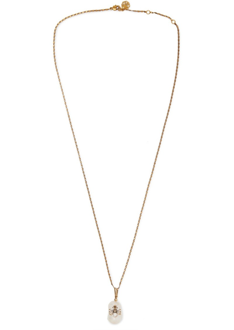 Alexander McQueen Gold-tone, Faux Pearl And Swarovski Crystal Necklace
