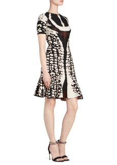 Alexander McQueen Graphic Print Mini Flounce Dress