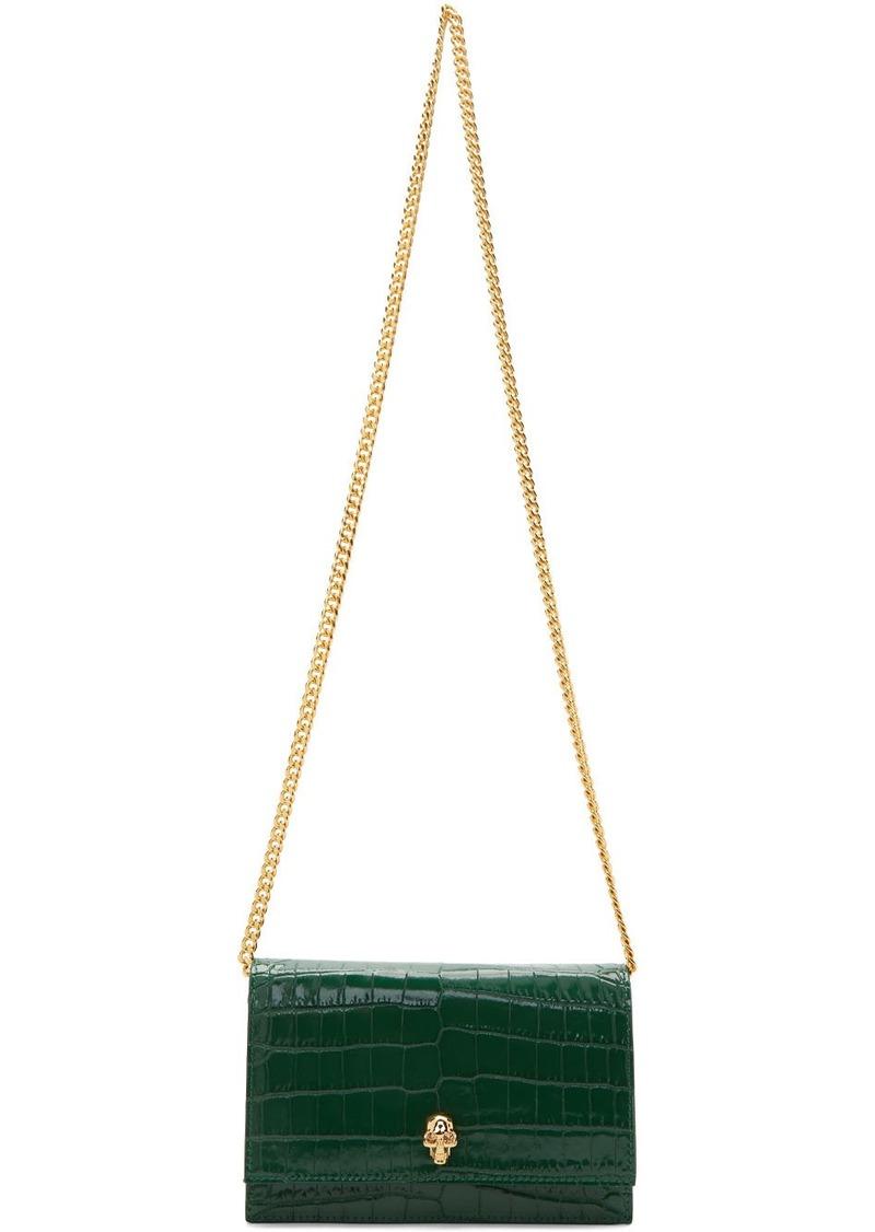 Alexander McQueen Green Croc Mini Skull Bag