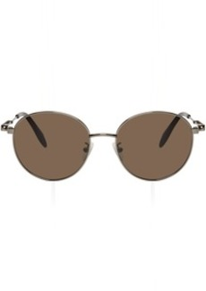 Alexander McQueen Grey Oval Metal Piercing Sunglasses