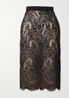 Alexander McQueen Grosgrain-trimmed Cotton-blend Lace Skirt