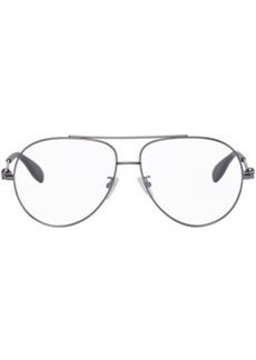 Alexander McQueen Gunmetal Aviator Glasses