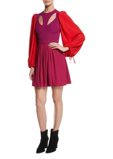 Alexander McQueen Harness Cutout-Front Balloon-Sleeve Fit-and-Flare Mini Dress