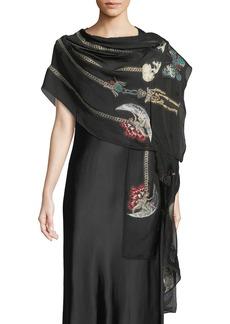 Alexander McQueen Heirloom Pins Silk-Blend Shawl