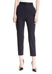 Alexander McQueen High-Waist Cigarette Grain de Poudre Wool Trousers