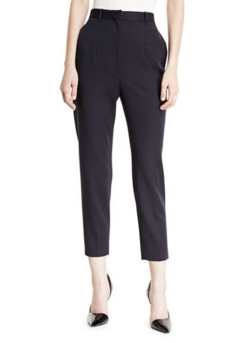 Alexander McQueen High-Waist Cigarette Grain de Poudre Wool Trousers
