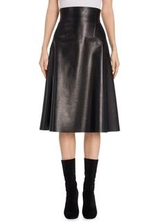 Alexander McQueen High-Waist Leather Midi Skirt