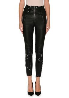 Alexander McQueen High-Waist Stretch-Leather Biker Pants