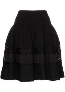 Alexander McQueen high-waisted macrame-panelled skirt