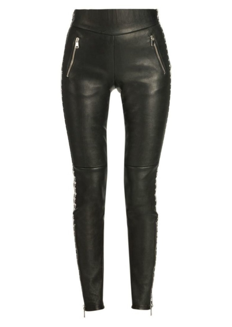 Alexander McQueen Houndstooth Stripe Leather Trousers