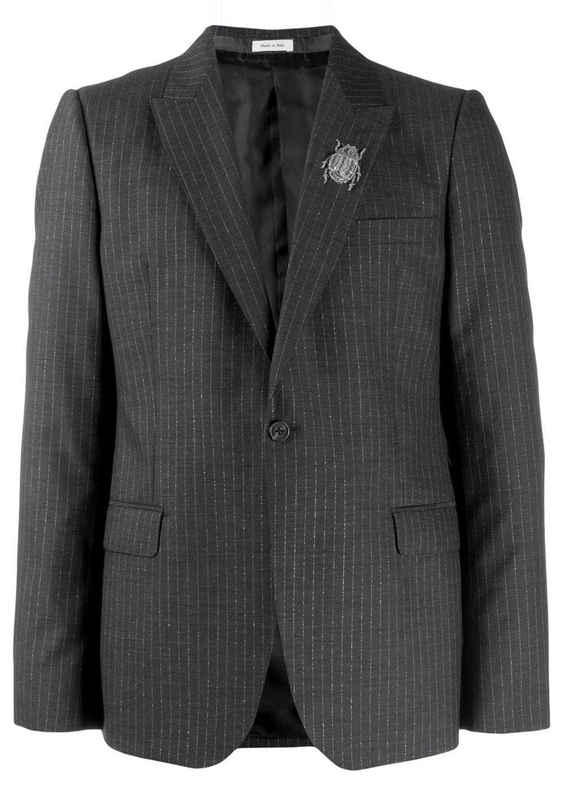 Alexander McQueen insect embellished pinstriped blazer