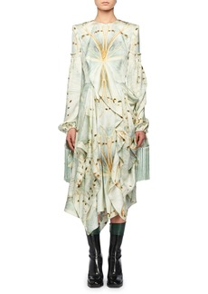 Alexander McQueen Jewel-Neck Scarf Long-Sleeve Glass-Wing Print Silk Dress