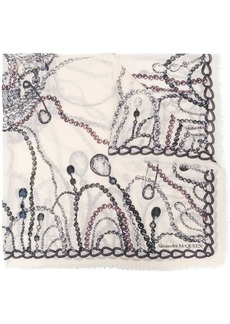 Alexander McQueen jewelled printed scarf