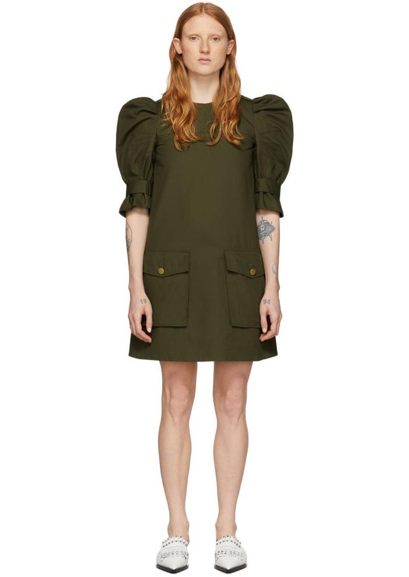Alexander McQueen Khaki Puff Sleeves Cargo Dress