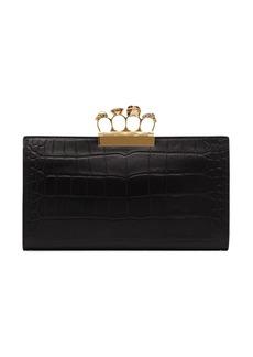Alexander McQueen Knuckle Embellished Leather Clutch