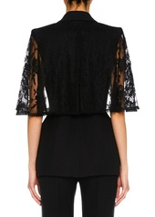 Alexander McQueen Lace Capelet Satin-Lapel Single-Breasted Wool-Silk Blazer