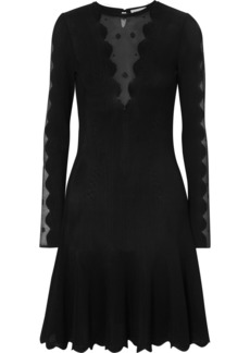 Alexander McQueen Lace-paneled Ribbed-knit Dress