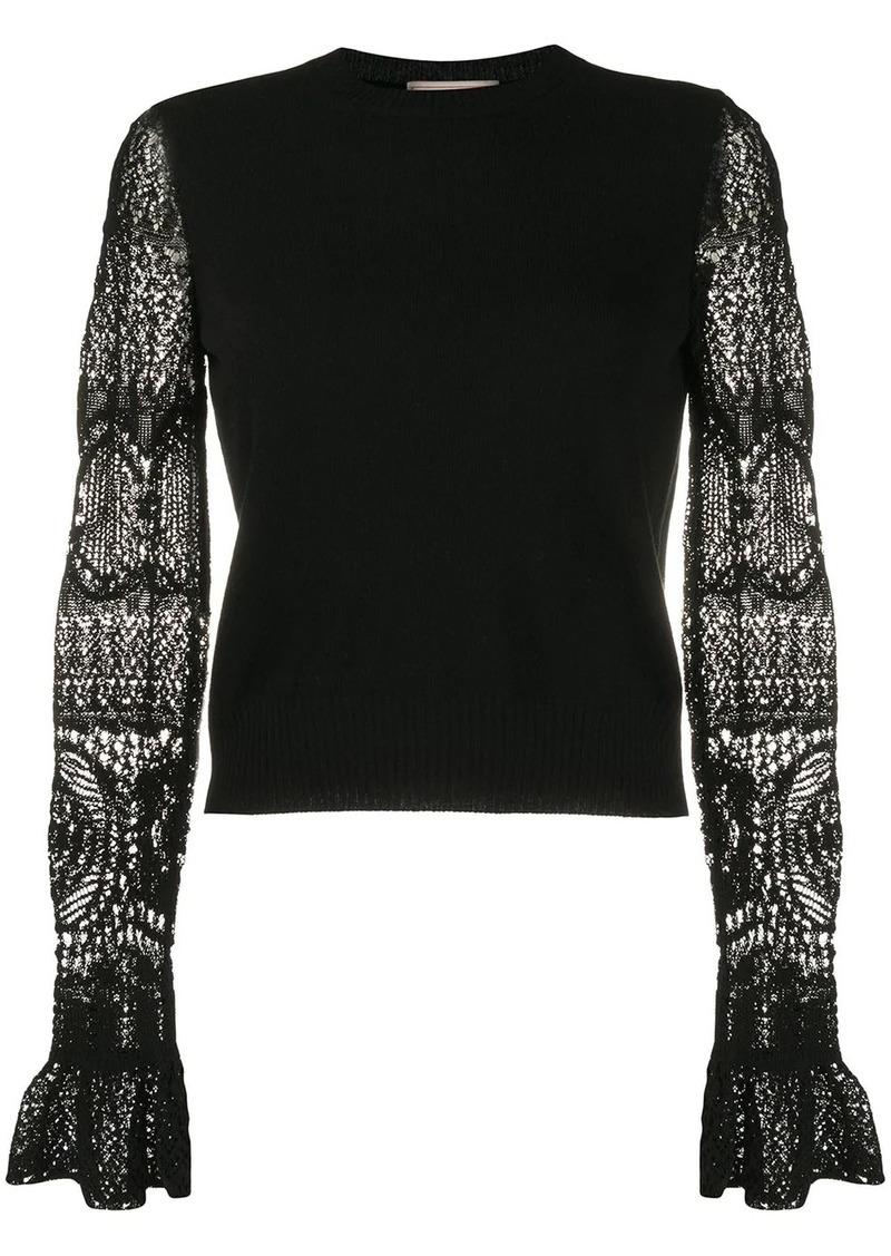 Alexander McQueen lace sleeves crewneck jumper