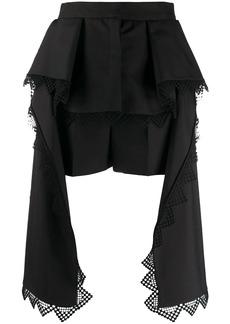 Alexander McQueen lace trim draped shorts