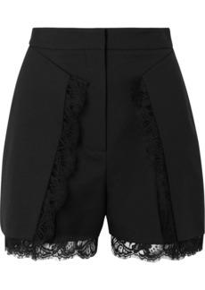 Alexander McQueen Lace-trimmed Wool-blend Shorts