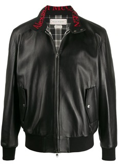 Alexander McQueen lambskin zipped bomber jacket