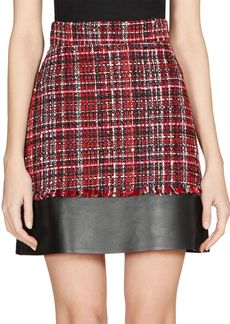 Alexander McQueen Leather & Tweed Mini Skirt