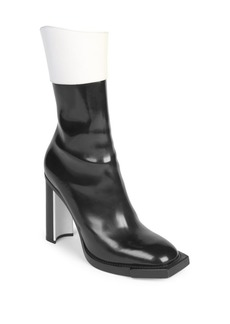 Alexander McQueen Leather Block Heel Booties