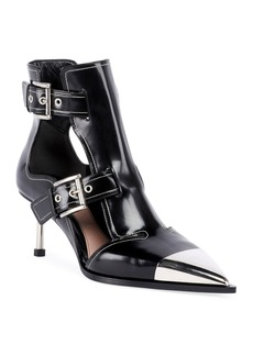 Alexander McQueen Leather Cutout Buckle Boots