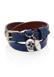 Alexander McQueen Leather Double-Wrap Charm Bracelet