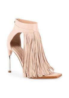 Alexander McQueen Leather Fringe Ankle-Strap Sandals