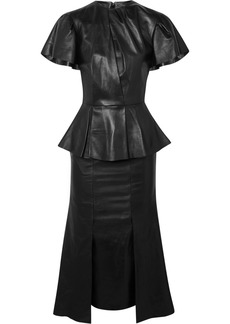 Alexander McQueen Leather Peplum Midi Dress
