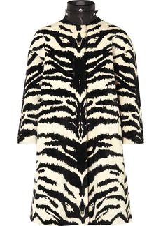 Alexander McQueen Leather-trimmed Zebra-jacquard Coat
