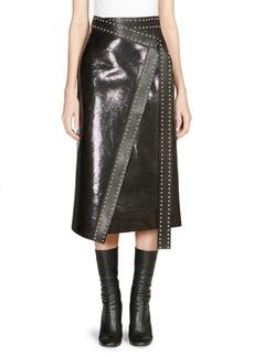 Alexander McQueen Studded Leather Wrap Midi Skirt