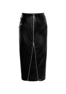 Alexander McQueen Leather Zip Midi Skirt