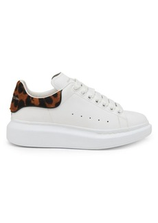 Alexander McQueen Leopard-Print Calf Hair & Leather Platform Sneakers