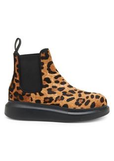 Alexander McQueen Leopard Calf Hair Hybrid Boots