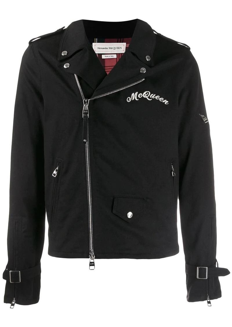Alexander McQueen logo embroidered biker jacket