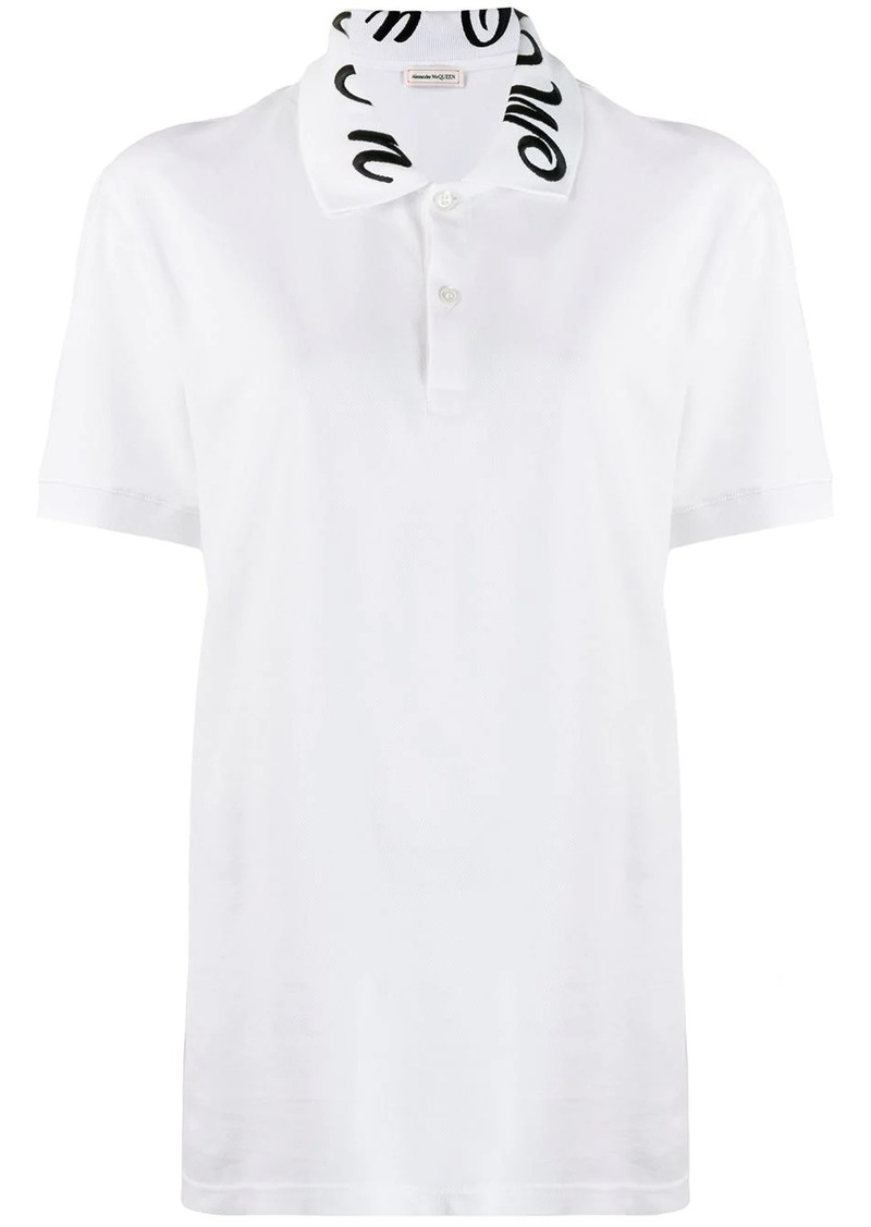 Alexander McQueen logo embroidered polo shirt