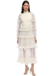Alexander McQueen Long Sheer Mesh Knit Dress