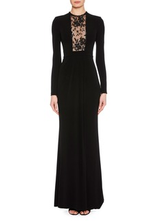 Alexander McQueen Long-Sleeve Column Evening Gown with Lace-Inset