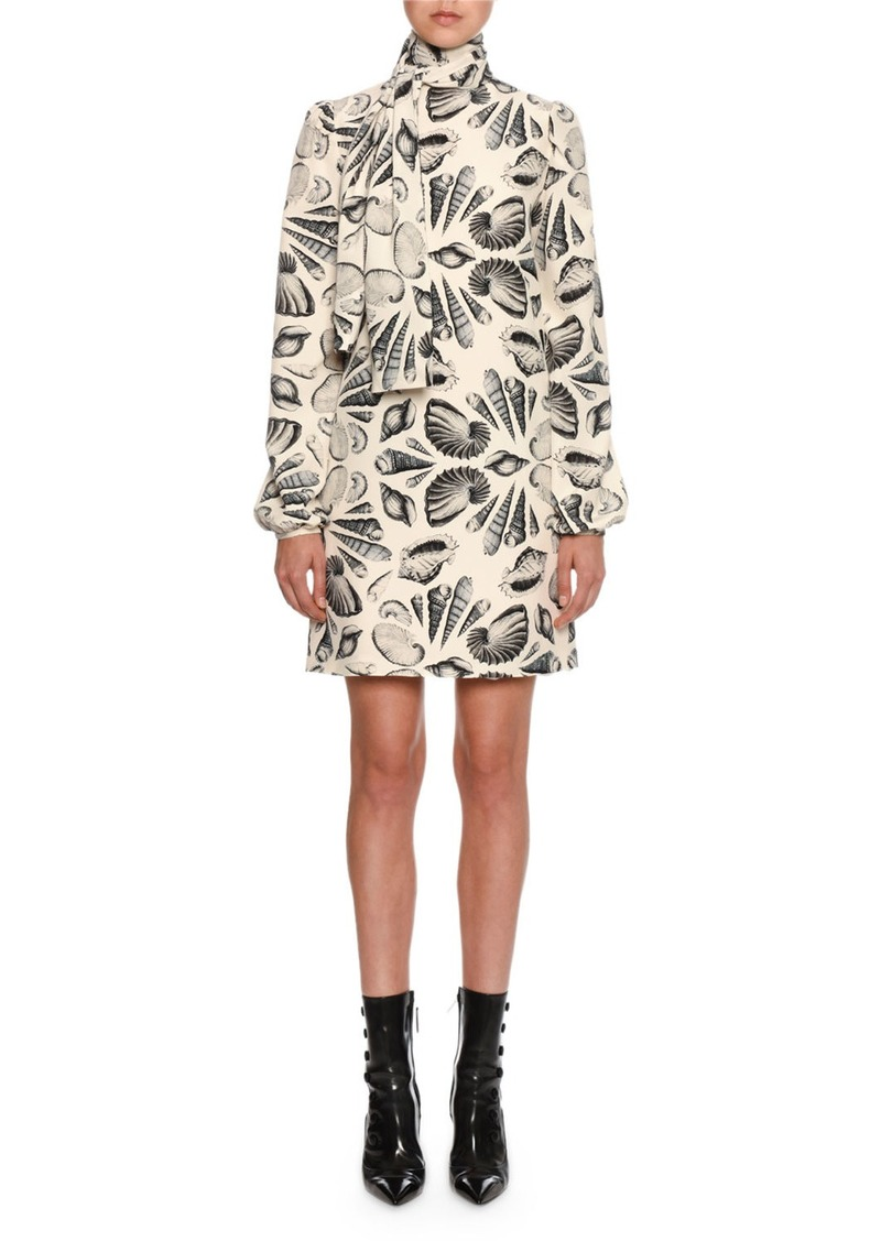 Alexander McQueen Long-Sleeve Tie-Neck Shell Print Mini Dress