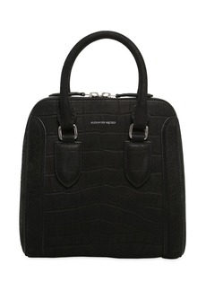 Alexander McQueen Medium Heroine Croc Embossed Nubuck Bag
